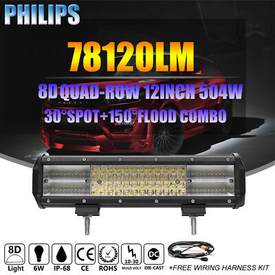 8D 12INCH 504W SPOT FLOOD COMBO QUAD ROW LED LIGHT BAR WORK LAMP FOR JEEP VS 72W