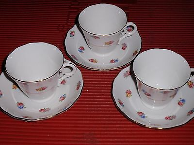 3 SETS OF PORCELAIN  CUPS AND SAUCERS  COLCLOUGH  BONE CHINA  ROSES