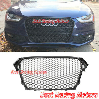 RS4 Style Front Grille Gloss Black Frame - Honeycomb Fit 13-16 Audi A4 S4 B8-5