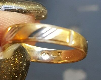 10k yellow with white gold accents wedding or pinky ring