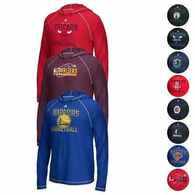 NBA Adidas Fade Away Hooded Long Sleeve Climalite Performance T-Shirt Mens