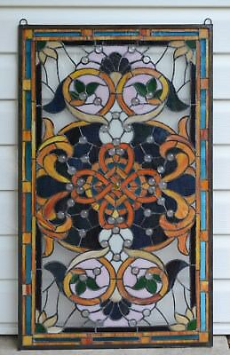 20-5W x 34-75H Tiffany Style Jeweled stained glass window panel-
