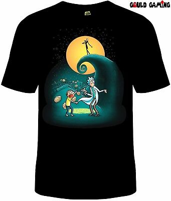Rick and Morty Portal Nightmare Before Christmas T-Shirt Unisex Cotton Sizes New