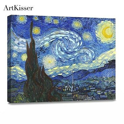 Canvas Print Painting Starry Night Vincent Van Gogh Framed Wall Art Decor Giclee