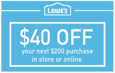 THREE Lowes 40 OFF 200 INSTANTCoupons ONLINE or INSTORE - 3 Min FAST Delivery