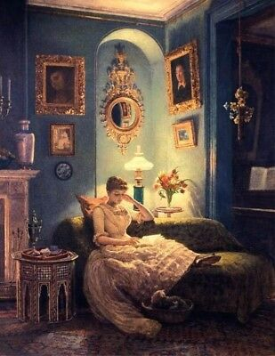 Victorian Trading Co An Evening at Home Women Reading Unframed Print