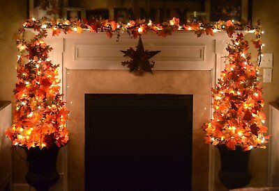20 LED Thanksgiving Decorations Lighted Fall Garland Home Decor indoor Outdoor