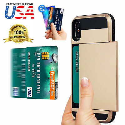 Shockproof Wallet Credit Card Holder Case Cover for Apple iPhone X 8 7 6s - Plus