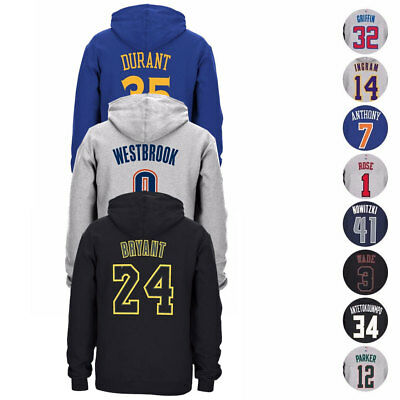 NBA Adidas Player Name - Number Jersey Pullover Fleece Hoodie Collection Mens
