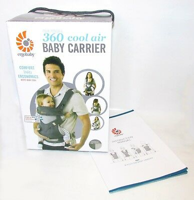NEW in BOX ERGOBABY 360 4 Position Ergo baby carrier COOL AIR MESH CARBON GREY