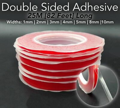 25M RED Film DOUBLE SIDED STICKY ADHESIVE TAPE 1mm 2mm 3mm 4mm 5mm 6mm 8mm 10mm