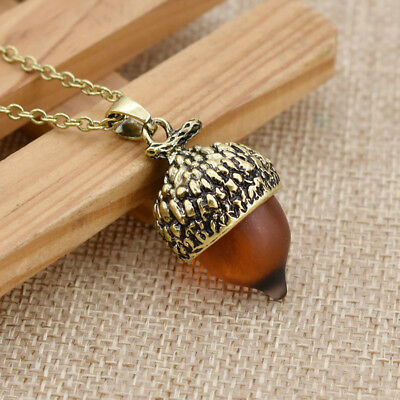 Glass Acorn Oak Necklace Adjustable Metal Chain Fashion Jewelry for Women Gift