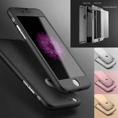 For Apple iPhone 8 6 6S 7  Plus -Tempered Glass Ultra Thin Slim Hard Case Cover