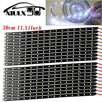20X White 30CM15 LED Flexible Truck Car Motor Trunk Light Strip Waterproof 12V