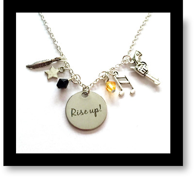 Hamilton Broadway Musical Charm Necklaces Rise Up- Gift Bag Included