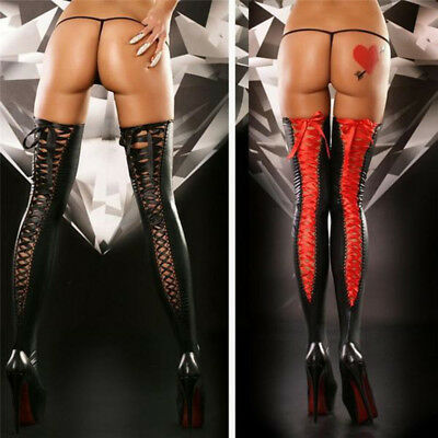 US Sexy Women Comfortable Thigh-high Stocking Leather Lace Bow Long Socks