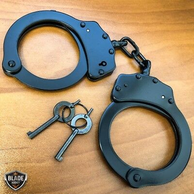REAL Police Handcuffs DOUBLE LOCK Professional BLACK STEEL Hand Cuffs w Keys