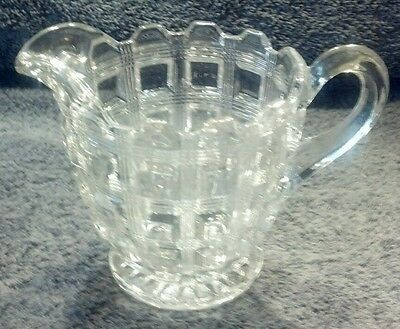 PERFECT MINT CRYSTAL PRESSED HEAVY DEPRESSION GLASS RARE CREAMER PITCHER CUBES