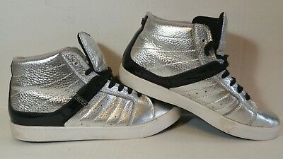 Supra Mid-High Skateboarding Shoes in Silver Mens Sz- 9