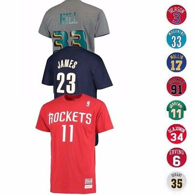 NBA Mitchell - Ness HWC Throwback Retro Player Name - Number Jersey T-Shirt Men