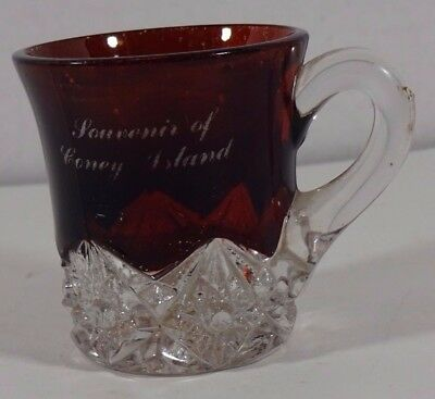 EAPG Ruby Red Flashed Glass Souvenir Mug Gold Painted Coney Island Brooklyn NY