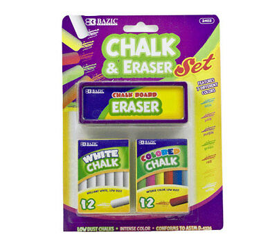 BAZIC 12 Color - 12 White Chalk w Eraser Set for school art craft