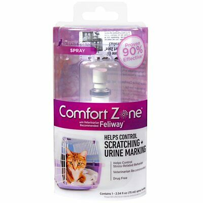 New Comfort Zone Feliway Cat - Kitten Calming Spray 2-54 fl-oz- 75 mL Bottle