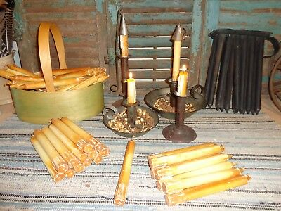 RARE EARLY LIGHTING ANTIQUE AUTHENTIC 1800S SHAKER MADE TALLOW CANDLE AAFA