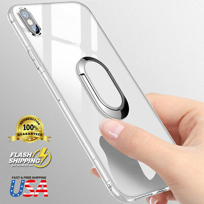 Soft TPU Back Case Cover 360 Magnetic Ring Holder Kickstand For iPhone X 8 7Plus