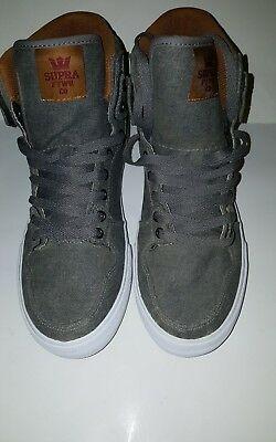 SUPRA VAIDER MENS SKATE SHOESGREYCATHAY SPICE WHITE CANVASLEATHER S28279