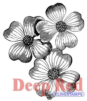 Deep Red Stamps Dogwood Flowers Rubber Cling Stamp
