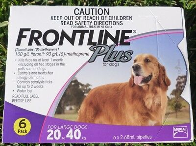 Frontline Plus for Large Dogs 45-88lbs 20-40kg Purple Box 6 Pack 6 Months