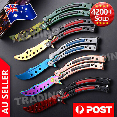 CSGO Balisong Butterfly Knife Trainer Training Practice Metal Steel Tool Sheath