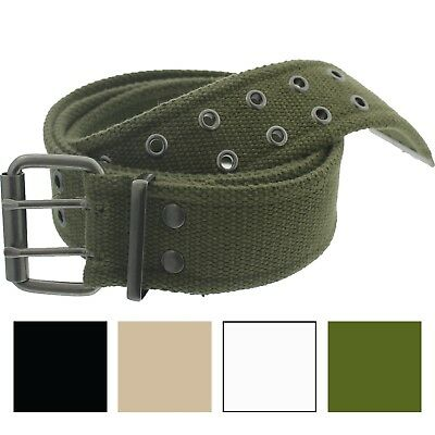 Military Double Prong Canvas Belt Heavy Duty Army Pistol Grommet Two Hole