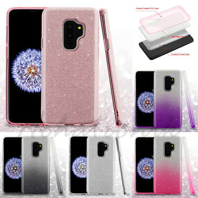 Samsung GALAXY S9  Plus Hybrid Glitter Bling Rubber Protective Gel Case Cover