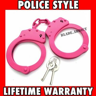 PINK DOUBLE LOCK NICKEL PLATED HEAVY DUTY STAINLESS STEEL HAND CUFFS - KEYS Real