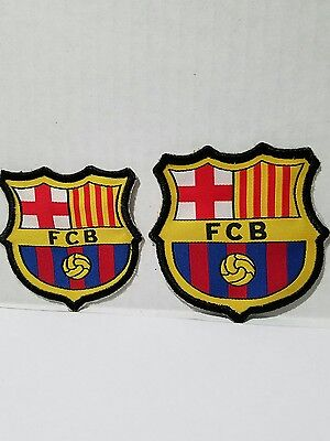 2 X FC Barcelona Soccer Team Iron-on Patch Emblem - New
