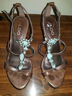 ALDO wooden  wedge  brown with turquoise sandal  size 5-