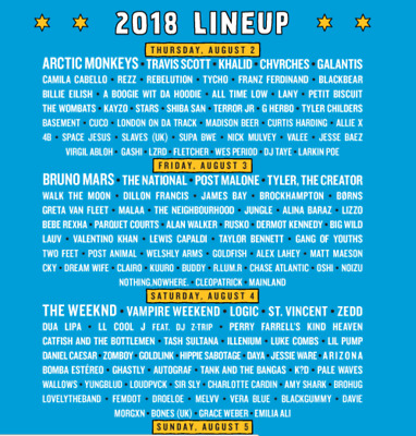 Lollapalooza Tickets 2018 - 4 Day General Admission
