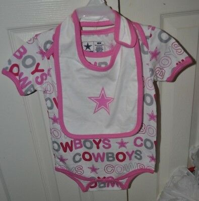 Dallas Cowboys NFL Girls Infant 24 month One Piece W Bib set Pink New With Tag