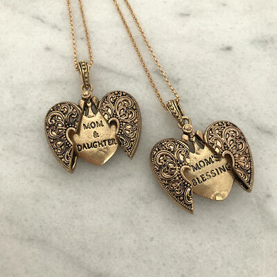 Mothers Day Locket Necklace Gold Tone Long - USA seller