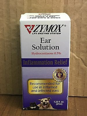Zymox Enzymatic Ear Solution Hydrocortisone -5  1-25oz Dogs Cats