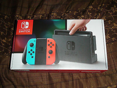 Brand New Nintendo Switch 32GB Gray Console with Neon RedNeon Blue Joy-Con