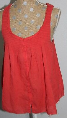 AMERICAN EAGLE OUTFITTERS Orange Button Down Top Sleeveless Blouse Cotton MEDIUM