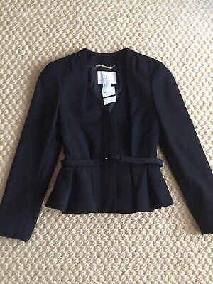 L- K- Bennett Judi Peplum Wool Jacket Blazer Black Size 2 Worn by Kate Middleton