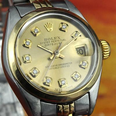 AUTHENTIC SWISS LADIES ROLEX OYSTER DATEJUST 6916 GOLD SS DIAMOND DIAL AUTOMATIC