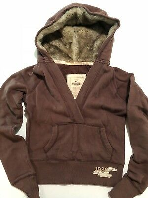 Womens Hollister Co Faux Fur Lined Hoodie Sweatshirt - Sz- Large - Great Cond-