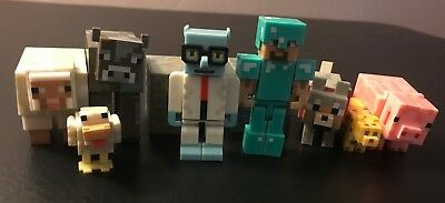 Minecraft Set of 10 Figures - People Animals Pig Chicken Blocks