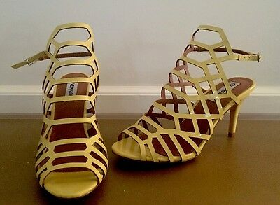 NEW Steve Madden Slithur Saedee Women US 7-5 Yellow Strappy Caged Sandals Heels