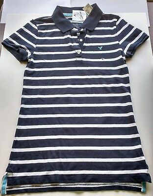 NWT American Eagle Outfitters Womens Striped Polo Top Navy Blue Size Medium NEW